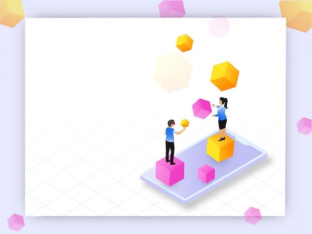 Realidade aumentada conceito baseado modelo de web design, isométrico s