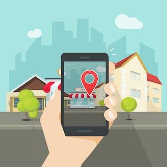 Realidade aumentada no celular ou smartphone com ponteiro de navegação pin vector plana dos desenhos animados