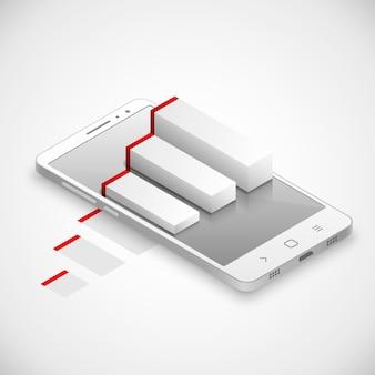 Realidade aumentada no toque moderno smartphone. ilustração vetorial