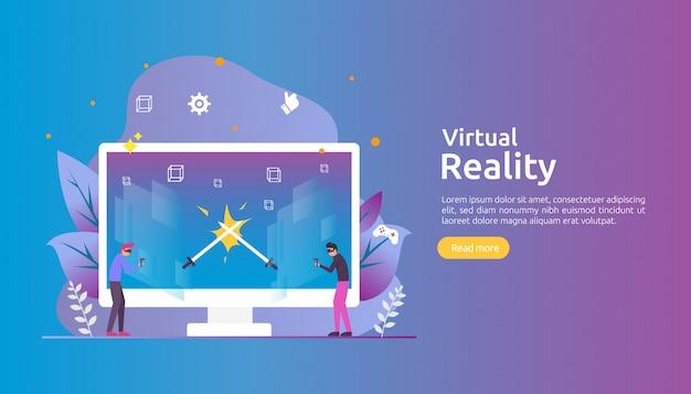 Realidade virtual aumentada com caráter de pessoas tocando a interface vr e usando óculos de proteção jogando jogo