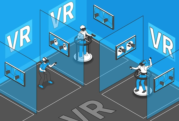 Realidade virtual com símbolos de jogadores vr isométricos