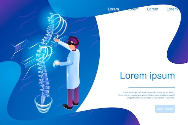 Realidade virtual de banner isométrica na medicina 3d