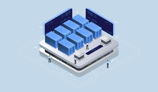 Realidade virtual do conceito de design isométrico e realidade aumentada.