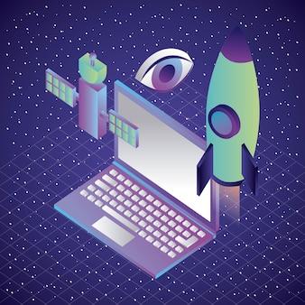 Realidade virtual laptop e foguete visão de satélite