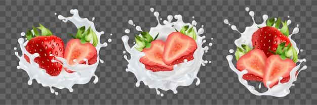Realismo, morangos, coleção de conjunto de respingo de leite