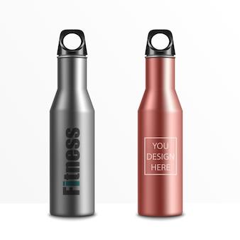 Realista 3d branca e preta vazia brilhante metal garrafa de água com ícone de rolha preto conjunto closeup em branco