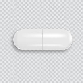 Realista 3d branco comprimido médico com sombra suave. vetor