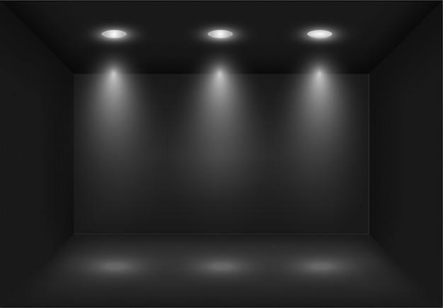 Realista 3d caixa de luz preta com holofotes ou projetor. iluminação da sala de exposições. lightbox fundo para show, exposição. modelo em branco e vazio interior do estúdio.