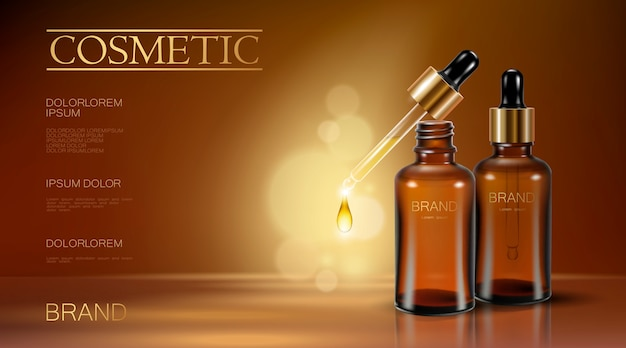 Realista 3d essência garrafa cosméticos anúncio pipeta caindo gota de óleo