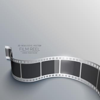 Realista, 3d, película, faixa, fundo, perspectiva
