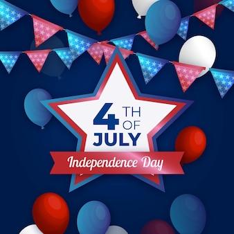 Realista 4 de julho com balões