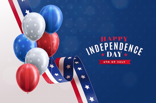 Realista 4 de julho dia da independência balões fundo Vetor grátis