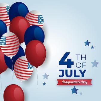 Realista 4 de julho e eua balões de bandeira