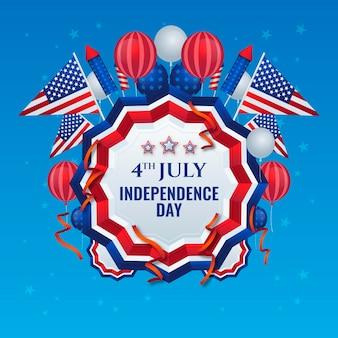 Realista 4 de julho - fundo de balões do dia da independência Vetor grátis