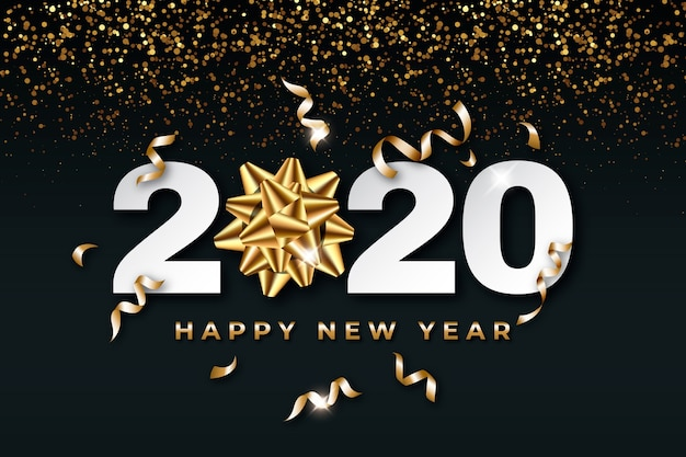 Realista ano novo 2020 fundo com laço de presente dourado