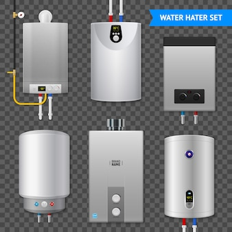 Realista aquecedor elétrico de água caldeira transparente ícone definido com elementos isolados na transparente