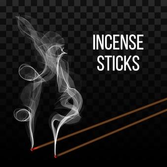 Realista aroma de pau incenso com fumaça.
