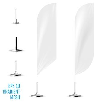 Realista bandeira branca bandeiras maquete 3d.