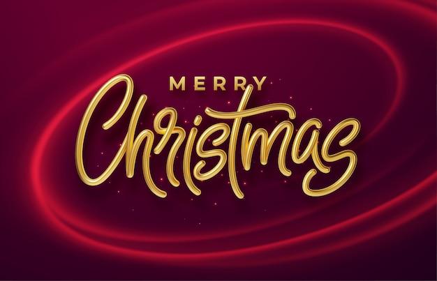 Realista brilhante 3d inscrição dourada feliz natal em um fundo com ondas brilhantes vermelhas.
