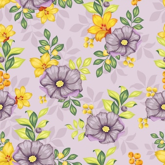 Realista colorido floral sem emenda