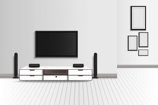 Realista da moderna sala de estar interior e móveis decorativos., televisão e estéreo envolvente da decoração do home theater. molduras