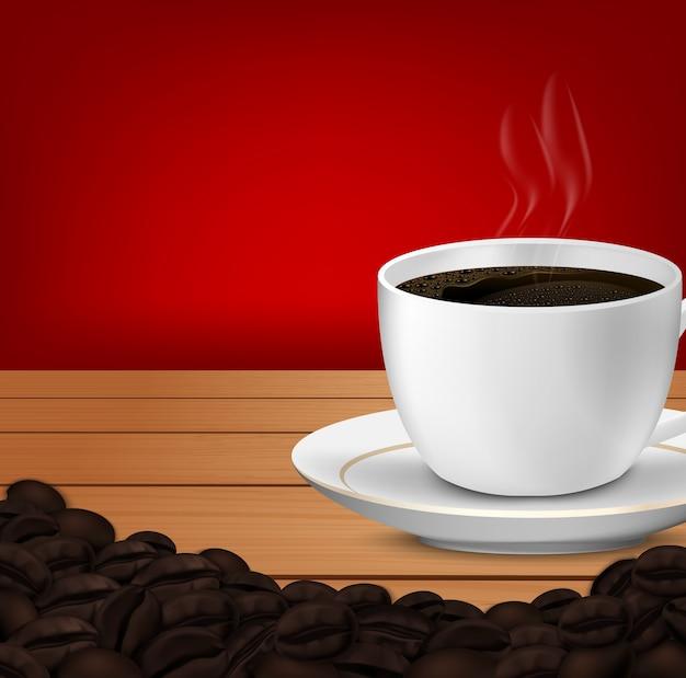 Realista de xícara de café e grãos de café