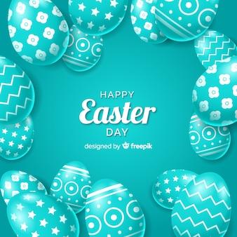 Realista decorado fundo de ovos de páscoa