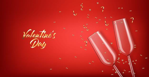 Realista dois copo, champanhe rosa, confete ouro, festa, fundo de comemoração, feliz dia dos namorados