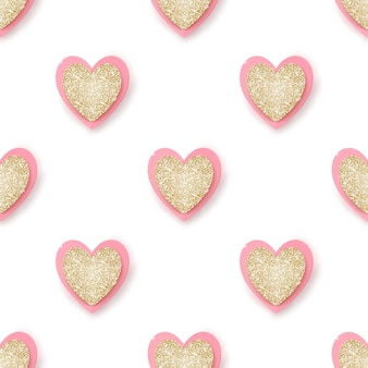 Realista dourado brilhante e corações rosa sobre fundo branco, sem costura.