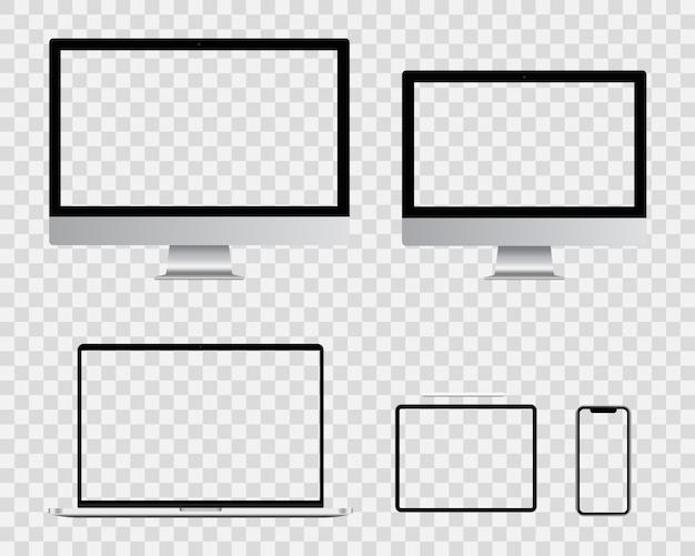 Realista em branco monitor de computador, smartphone, laptop e tablet pc tela design. coleção de conjunto de dispositivo digital inteligente.