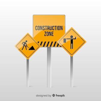 Realista em sinal de construção
