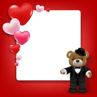 Realista fofinho sorridente urso boneca fica na frente de uma moldura branca com corações.
