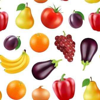Realista frutas e bagas padrão ou fundo