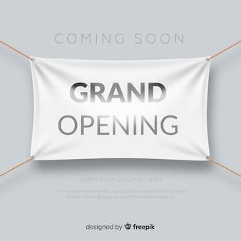 Realista inauguração cartaz com banner têxtil