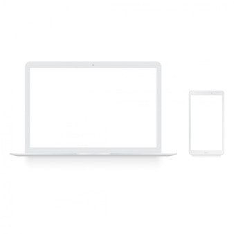 Realista laptop branco e smartphone mock up