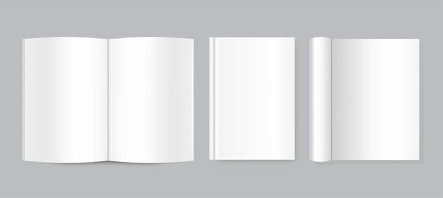 Realista livro aberto e fechado, revista ou caderno, frente e lado do livro.