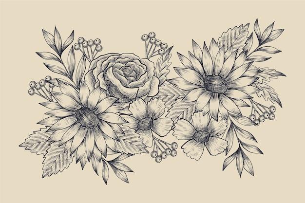 Realista mão desenhada buquê floral vintage