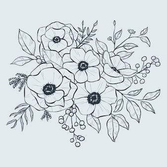 Realista mão desenhada buquê floral