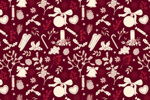 Realista mão desenhada padrão de natal