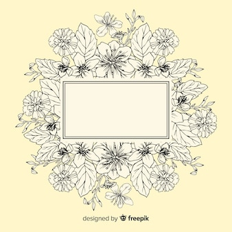 Realista mão desenhadas flores com banner em branco