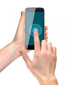 Realista mão segurando o telefone móvel isolado no branco