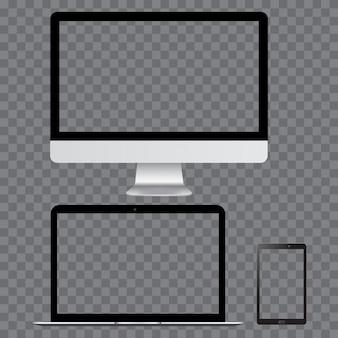 Realista monitor de tv smartphone e laptop maquete