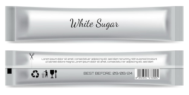 Realista palito fosco sachê pacote isolado modelo açúcar palito produto em branco embalagem mock up