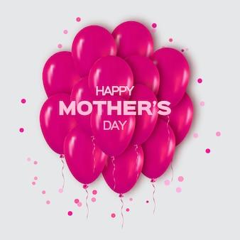 Realista rosa monte de balões para festa, feliz dia das mães