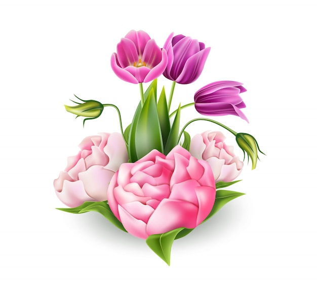 Realista rosa peônia e tulipa roxa flores buquê elegante com folhas verdes. elemento romântico vintage