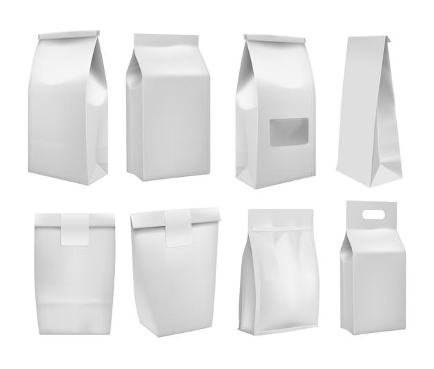 Realista tirar comida caixa mock up conjunto