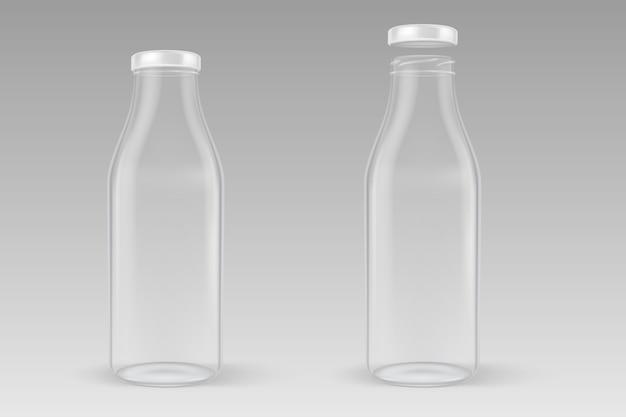 Realista transparente fechado e abrir a garrafa de leite de vidro vazio com tampa branca closeup isolado em fundo cinza.