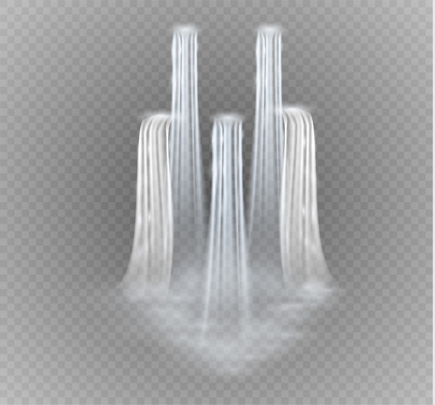 Realista transparente, fluxo de cachoeira com água limpa e bolhas isoladas em fundo transparente.