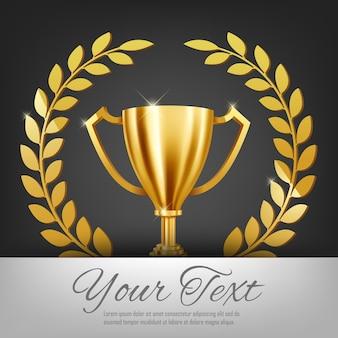 Realista troféu de ouro e coroa de louros de ouro