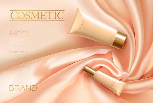 Realista tubo de cosméticos 3d anúncio tecido de cetim drapery seda cor bege rosa